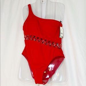 NWT Kenneth Cole Swimsuit XL Zig Zag One Shoulder